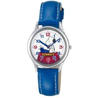 文字板にキャラクター「スヌーピー」がプリントされた可愛らしい腕時計。シンプルなデザインとカジュアルな...