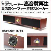 木目調ステレオロングスピーカー(L)【iPod ウォークマン USB電源 8cm 重低音ウーファー】