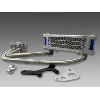 ・モンキー系エンジンに最適、プロテクター付きのオイルクーラー3段コアタイプ・ステンレスメッシュホース...
