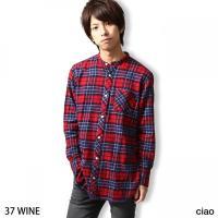 ネルシャツ メンズ  【ciao】から、バンドカラーロングシャツが登場。  低めの立ち襟「バンドカラ...