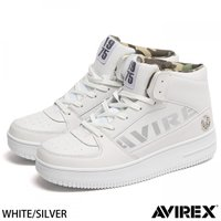 スニーカー メンズ  ミリタリーウェアブランド【AVIREX】より、合皮と本革を切替えたハイカットス...