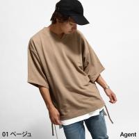 スウェット メンズ  【Agent】より、裾部分のサイドのレースアップ仕様がアクセントの半袖スウェッ...