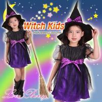 【商品詳細】 ハロウィン用のかわいい魔女風ワンピースと帽子のセットです。  キッズコスプレにぴったり...
