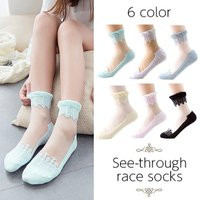 レディース用靴下です☆ シースルーデザインがおしゃれな女の子らしいアイテムになっています。 レースデ...
