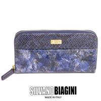 パイソン パイソン柄 ヘビ柄 ヘビ革 長財布 レディース財布 二つ折り 人気 かわいい 本革 ネイビー イタリア製 SILVANO BIAGINI