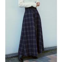 スカート 大柄チェックフレアロングスカート