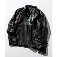 ジャケット ライダースジャケット ストレッチレザーシングルライダースジャケット