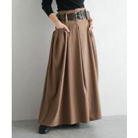 スカート ベルト付き タックロングスカート