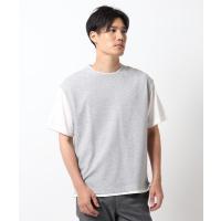 tシャツ Tシャツ 【接触冷感】ポリエチレンフェイクベストTシャツ