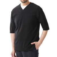 tシャツ Tシャツ :ヘリンボンジャガード切替Vネック 5分袖