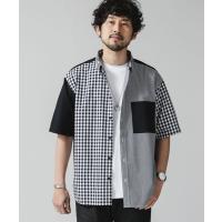 シャツ ブラウス クレイジーチェックビッグシャツ/半袖