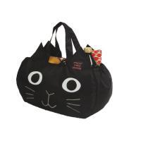 送料無料☆  とっても可愛い黒猫フェイスのエコバッグ♪  軽くて持ち運びがラクなエコバッグは、 スー...
