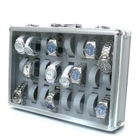 腕時計ケース アルミ製 24個収納 鍵付き アルミ時計ケース  ●大事な腕時計の収納に最適! 表面が...