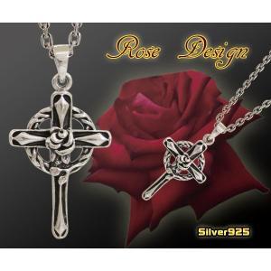 ローズクロス(1) 十字架バラ薔薇 シルバー925 メイン|0001pppcom