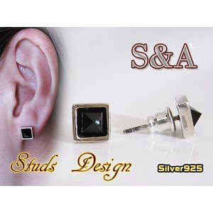 (S&A)オニキススタッズピアス シルバー925(メイン)銀|0001pppcom