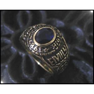 ブラスカレッジリング(2)青17号・19号・21号/指輪真鍮製(メイン)|0001pppcom