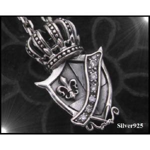 王冠 クラウンLILYシールド(5)CZ 盾ペンダント(メイン)|0001pppcom