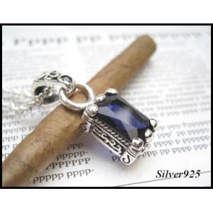 スクエアストーン(1)(ダークブルー) (メイン) シルバー925 ペンダントペア銀ペンダントトップ|0001pppcom