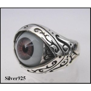 義眼リング(1)茶色 17号・19号・21号・23号・25号/指輪・目玉 シルバー925(メイン)|0001pppcom