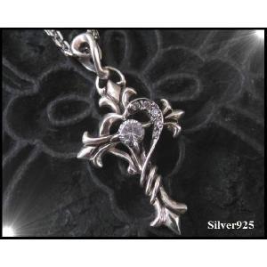 【DB】アラベスクハートクロスCZ/十字架 シルバー925(メイン)ペンダントトップ銀|0001pppcom
