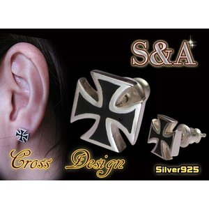(S&A)アイアンクロスピアス黒 王冠 十字架 シルバー925(メイン)銀|0001pppcom