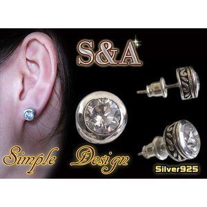 (S&A)シルバーピアス(1) ジルコニア シルバー925(メイン)|0001pppcom