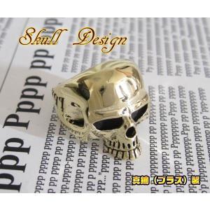 ブラスシンプルスカルリング(1)15号・17号・19号・21号・23号・25号/ドクロ金色指輪金色真鍮 (メイン)|0001pppcom