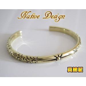 ブラスデザインバングル(1)/ネイティブ真鍮製金色 (メイン)|0001pppcom