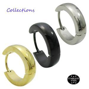 ステンレス ピアス(9)16mm 片耳売り 選択可 金色 銀色 黒色 ピンクゴールド メイン サージカル 316L メンズ レディース フープ|0001pppcom