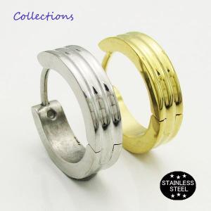 ステンレス ピアス(26)16mm 片耳売り 選択可 金色 銀色 黒色 ピンクゴールド メイン サージカル 316L メンズ レディース フープ|0001pppcom