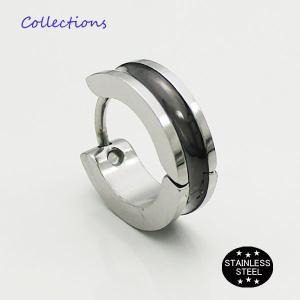 ステンレス ピアス(27)13mmライン 銀 黒 片耳売り メイン サージカル 316L メンズ レディース フープ|0001pppcom