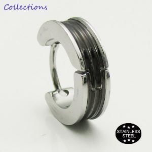 ステンレス ピアス(32)13mmライン 銀 黒 片耳売り メイン サージカル 316L メンズ レディース フープ|0001pppcom