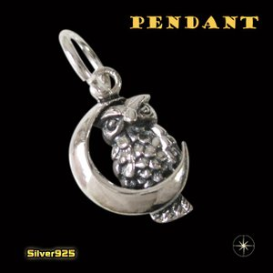 フクロウと月のペンダント(1)/(メイン)シルバー925銀・ネックレス・動物・鳥・羽根|0001pppcom