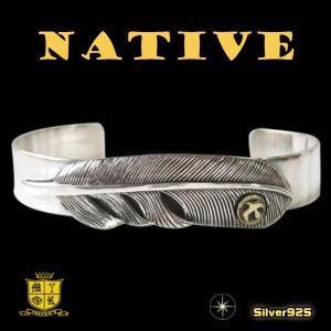 ネイティブバングル(17)SV+B メイン シルバー925銀ゴールドイーグル バングル ブレスレット 羽根 フェザー|0001pppcom
