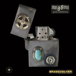 goodvibrations【GV】ZIPPOライター・メディスンホイール・ターコイズ/【メイン】シルバー925銀・真鍮製・ブラス・ネイティブターコイズ|0001pppcom