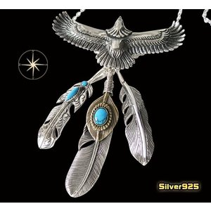 イーグルネックレスチェーンセット(14) メイン フェザーネックレス ビッグイーグル羽根 動物 鳥メンズ|0001pppcom