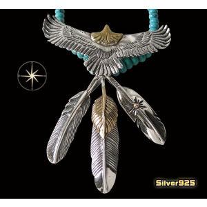 イーグルネックレスチェーンセット(16) メイン フェザーネックレス ビッグイーグル羽根 動物 天然石 ターコイズ|0001pppcom
