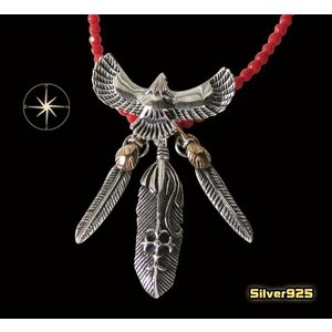 イーグルネックレスチェーンセット(18) メイン フェザーネックレス ビッグイーグル羽根 動物 天然石 ターコイズ|0001pppcom