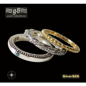 【GV】3連リング(1)5号・7号・9号・11号/(メイン)シルバー925 銀製金色 ターコイズメンズ 指輪|0001pppcom