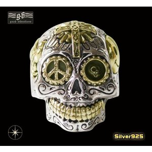 (GV)シュガースカルリング(3) メイン シルバー925 銀製スカル ドクロ 指輪|0001pppcom