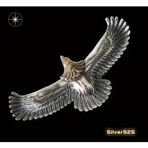 イーグルペンダント(2)頭金 メイン シルバー925 銀製メンズ レディース ネックレス フェザー 鳥 パーツ 動物 0001pppcom