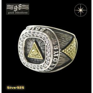 good vibrations(GV)プロビデンスの目のカレッジリング(1)CZ (メイン)フリーメイソン プロビデンス 指輪 リング シルバー925製 銀|0001pppcom