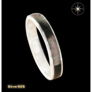 シェル1ラインリング(1)黒シェル (メイン)天然石 指輪 リング シルバー925製 銀|0001pppcom