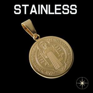 ステンレスペンダント 聖ベネディクトゥスのコイン(2)金色 メイン コイン 硬貨 サージカルステンレス316L 金属アレルギー対応 アクセサリー|0001pppcom