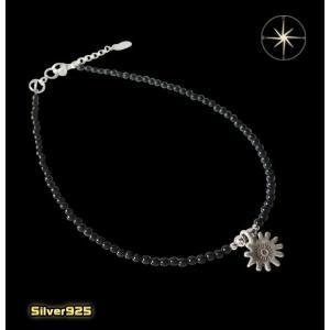 カレン族シルバーアンクレット(4)オニキス/(メイン)アンクレット・シルバー925製・銀|0001pppcom