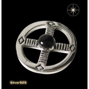 (パーツ)メディスンホイール(7)オニキス (メイン) ネイティブ 天然石 パーツ シルバー925製 銀|0001pppcom
