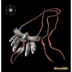 1点物イーグルネックレスレザーセット(1)ターコイズA/(メイン)羽根・フェザー・動物・鳥・イーグル・天然石 0001pppcom