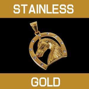 ステンレスペンダント ホースシュー(3)金 (メイン) サージカルステンレス 馬蹄 蹄鉄 ホースシューネックレス 金色|0001pppcom