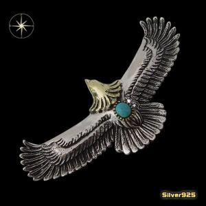 イーグルペンダント(4)SV+Bターコイズ (メイン)  シルバー925 銀 ペンダント フェザー 鳥  動物  天然石 ネックレス|0001pppcom