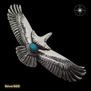 イーグルペンダント(5)ターコイズ メイン シルバー925 銀 ペンダント フェザー 鳥 動物 天然石 ネックレス|0001pppcom